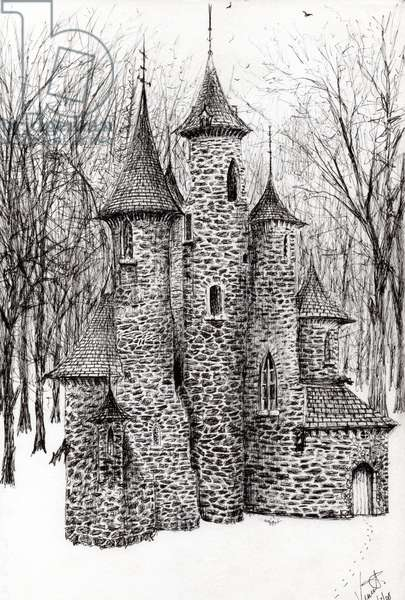 Gatehouse of The Castle in the forest of Findhorn, 2006, (ink on paper)