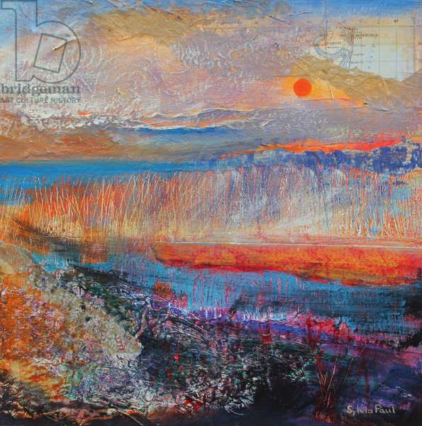 Marsh Sunset 2013, acrylic/paper collage
