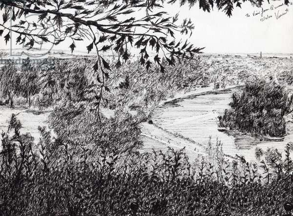 View from Richmond Hill London, 2004, (ink on paper)