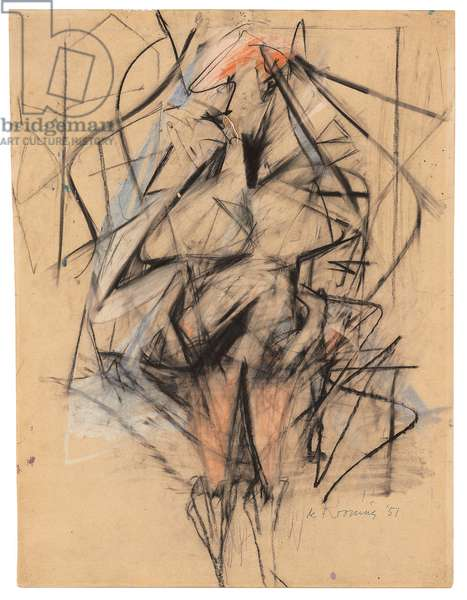 Woman, 1951 (graphite, charcoal, pastel and oil on paper)