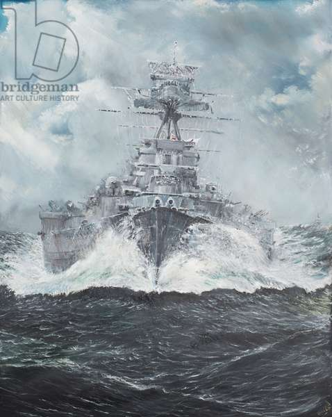HMS Hood heads for Bismarck 23rd May 1941, 2014, (oil on canvas)
