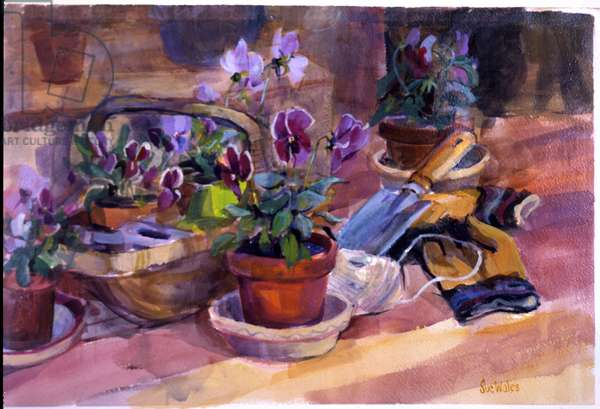 Potting up the pansies, 1996, (gouache on card)