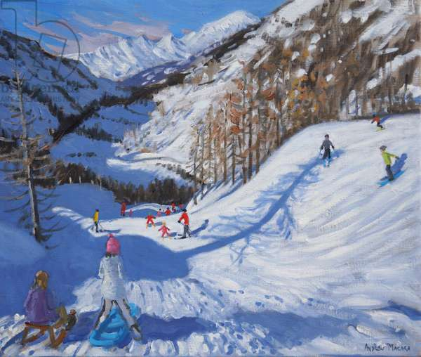 Shadow of a fir tree,and skiers Tignes.2014,(oil on canvas)