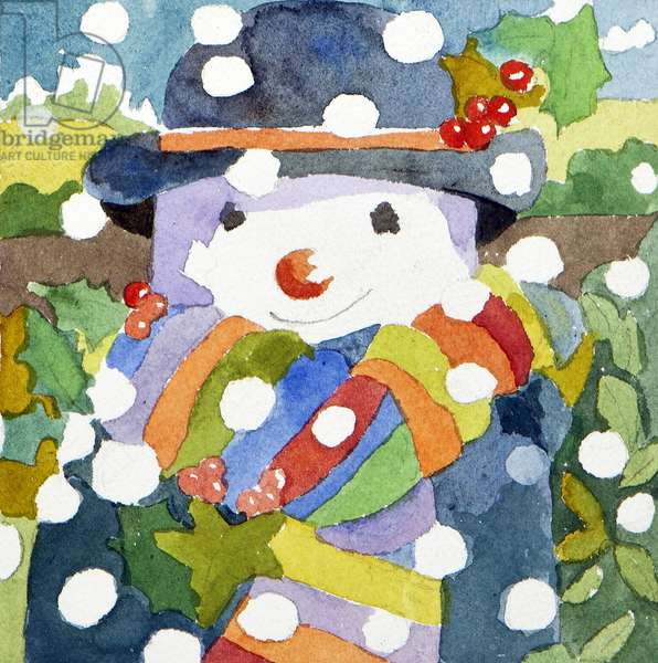 Snowman in snow, 2011, (watercolour)