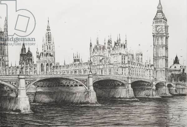 Westminster Bridge London, 2006, (ink on Paper)
