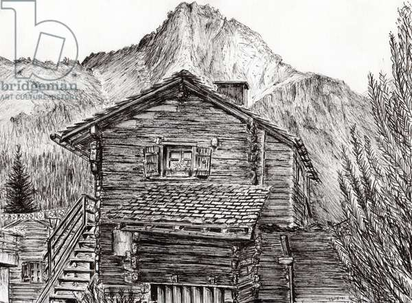 View from B&B Zinal Switzerland, 2011, (ink on paper)