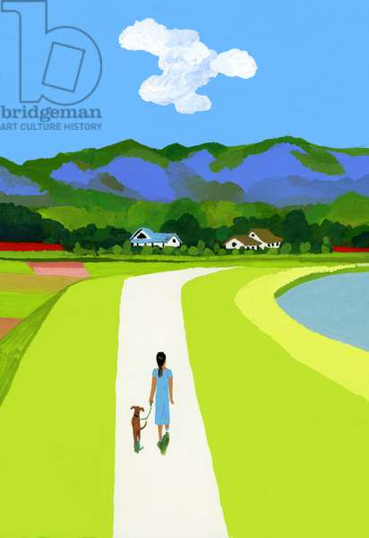 The Blue Mountains and the Woman Walking with the Dog