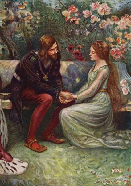 Prince Henry and Elsie in the Garden (colour litho)