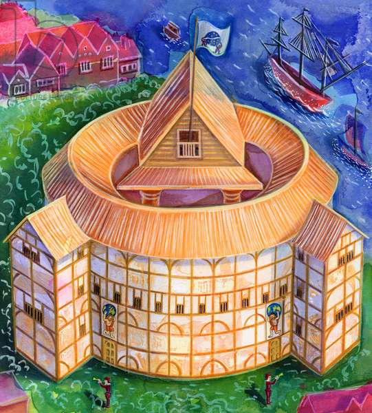 Shakespeare's Globe Theatre, 2006, (ink and gouache)