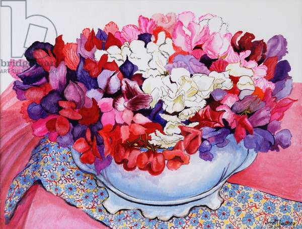 Sweet Peas in a Victorian Pot with Textiles  2012  (w/c on paper)