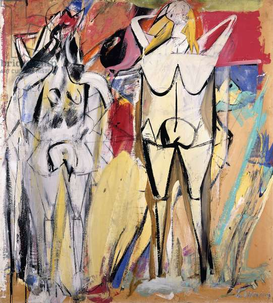 Two Standing Women, 1949 (oil, enamel and charcoal on board)