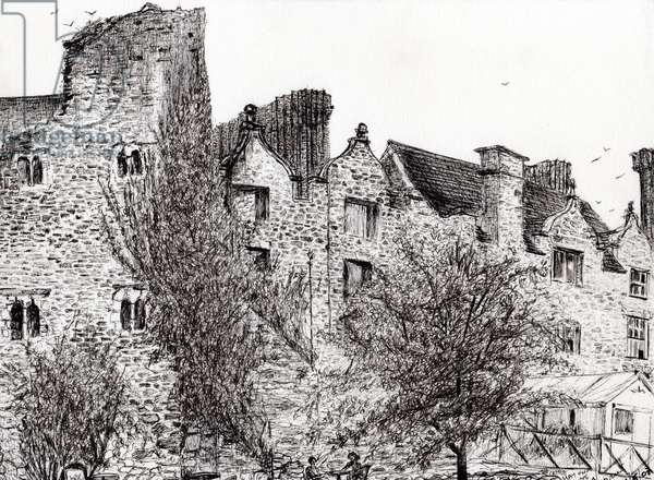 Castle ruin Hay on Wye, 2007, (ink on paper)