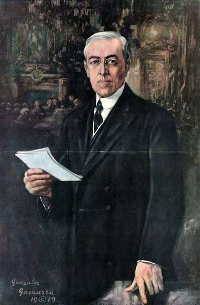 President Woodrow Wilson addressing delegates at the Versailles Peace Conference 1919. by Gonzales Gammara 1890-1972