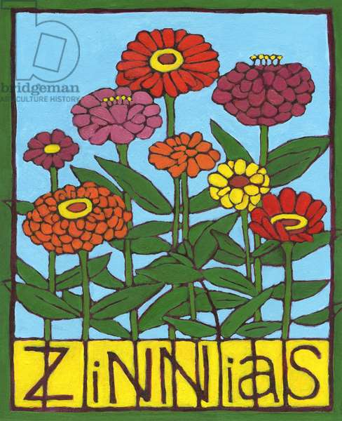 Zinnias, 2004, (oil on illustration board)