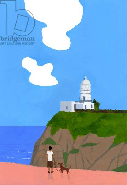 Lighthouse, dog and boys.