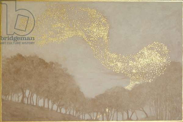 Murmuration of light, 2015, oil and gold leaf on panel