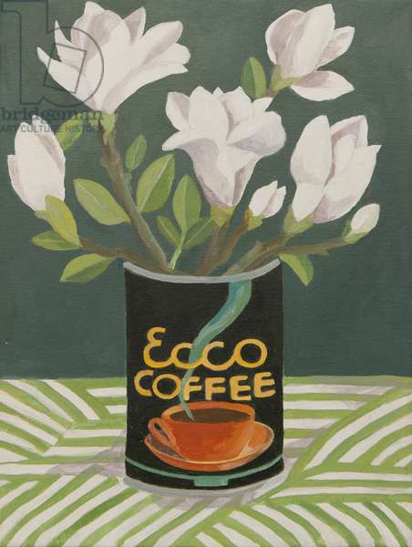 White magnolia in old coffee can (acrylic)