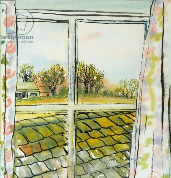 Through the Cottage Window Suffolk, 2010, (watercolour)