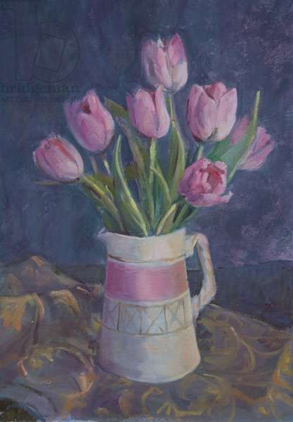 Pink tulips, 2015 (oil on board)