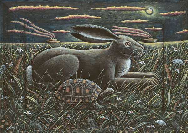 TORTOISE AND HARE, 2012, (tinted gesso on wood)