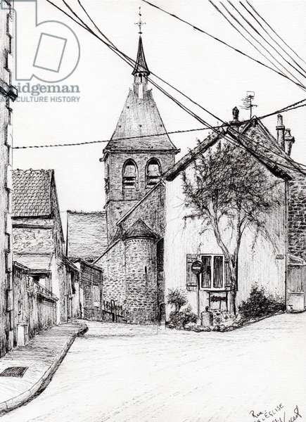Church in Laignes France, 2007, (ink on paper)