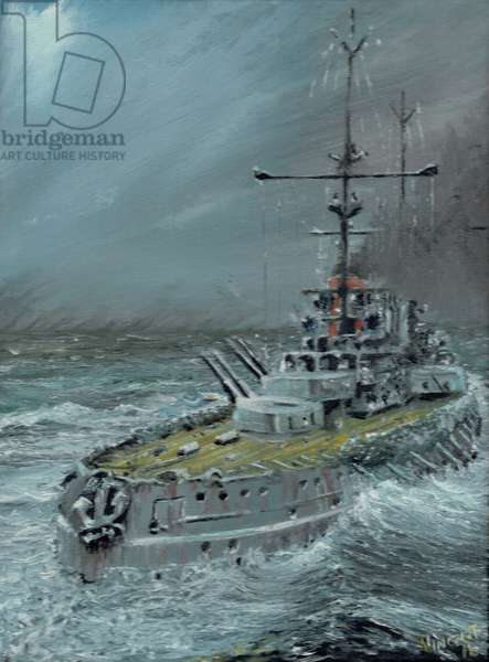 SMS Friedrich der Grosse at Jutland 1916, 2016, (oil on canvas board)