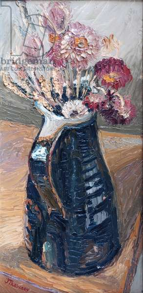 Dried Flowers in a Bernard Leach Jug  2000  (oil)