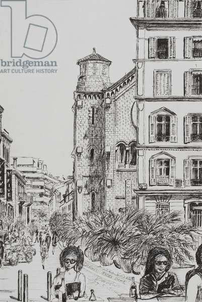 Hotel 5 and Notre Dame Cannes, 2014, (ink on paper)