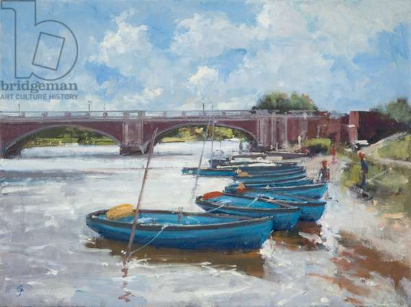 Moorings at Hampton Court, 2011 (oil on canvas)