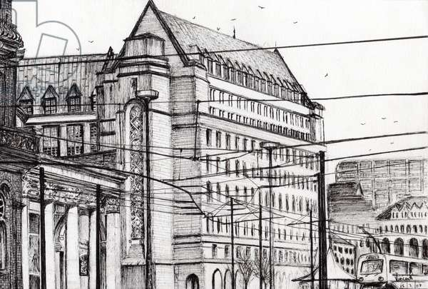 Manchester Town Hall, 2007, (ink on paper)