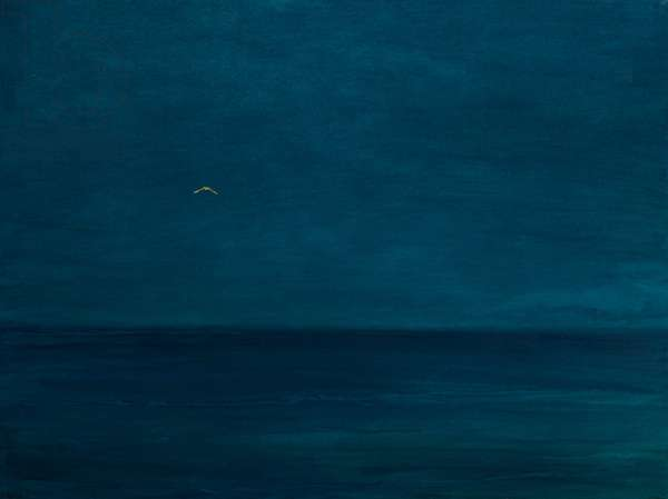 Silent flight, 2016, oil and gold leaf on panel