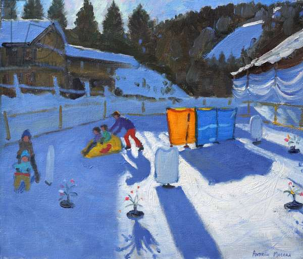 childrens ice rink,Clusaz, 2014,(oil on canvas)