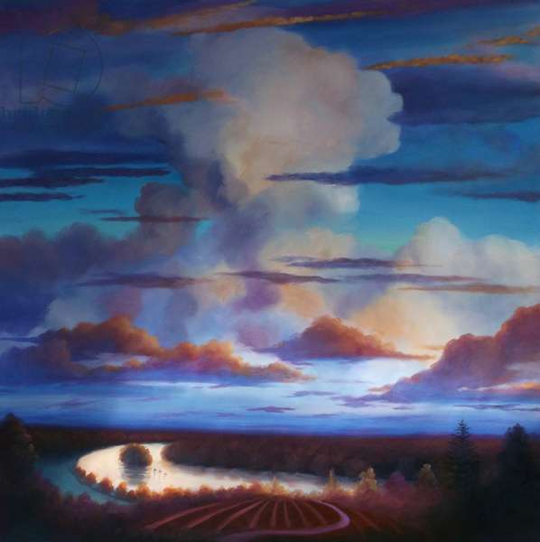 Big Sky 2012 (oil on canvas) Clouds above landscape