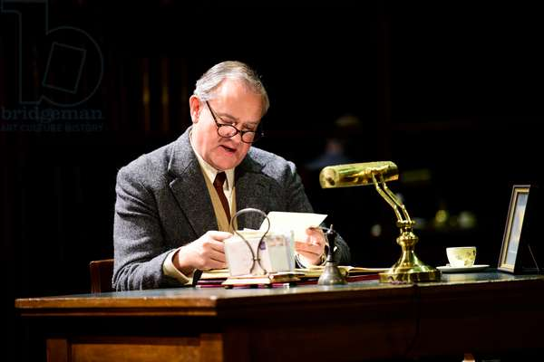 Hugh Bonneville playing CS Lewis in Shadowlands a play written by William Nicholson at Chichester Festival Theatre, West Sussex, UK, 2019 (photo)