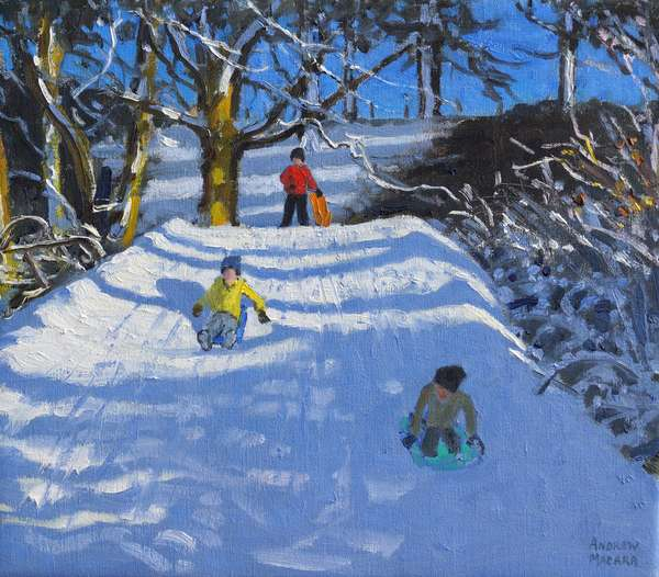 Fun in the snow,Wash Green,Derbyshire, 2014,(oil on canvas)