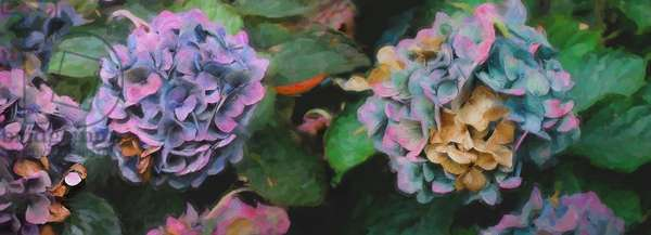 Hydrangeas, 2018, (mixed media)