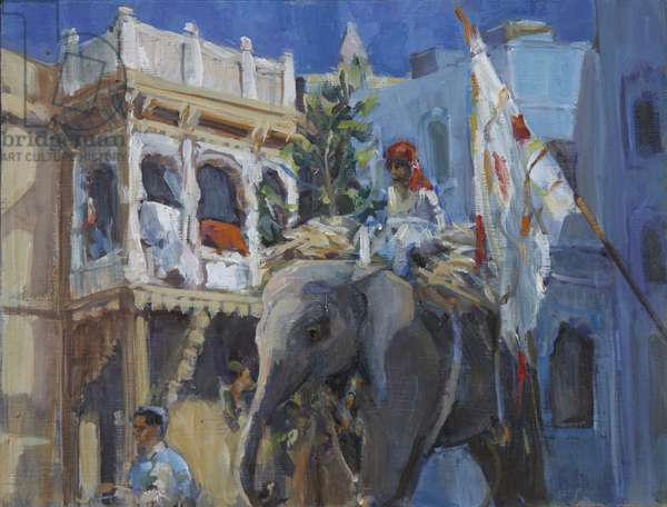 Elephant in Jodhpur, 2013, (oil on board)
