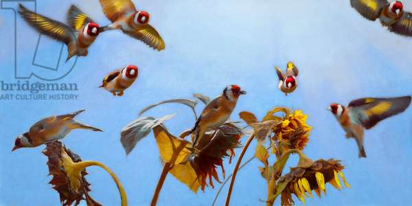 A Charm of Goldfinches, 2020, (painting)