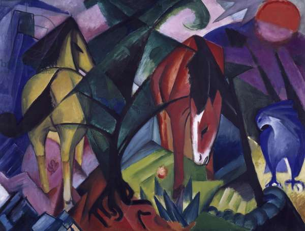 Horse and eagle, 1912, by Franz Marc (1880-1916)
