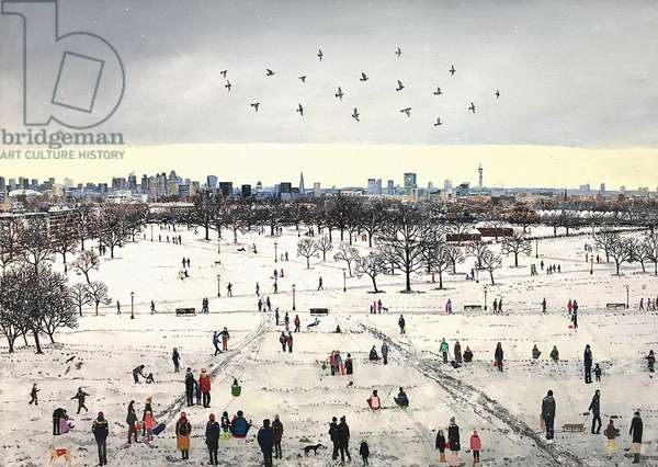 Primrose Hill Snow, 2018, (oil on canvas)