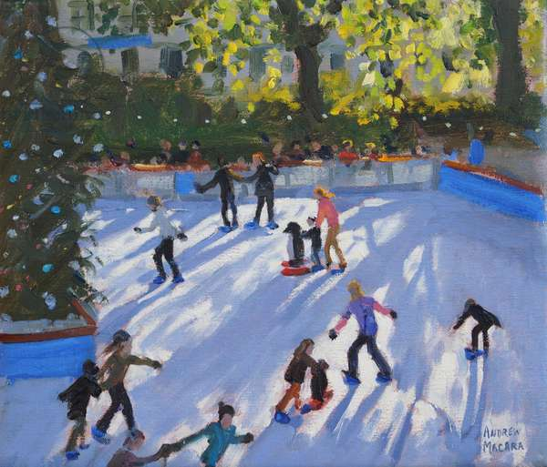 Ice skating, Natural History Museum, 2014  (oil on canvas)