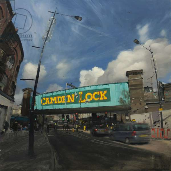 Camden Lock Bridge with sunstreak, 2018, oil on board