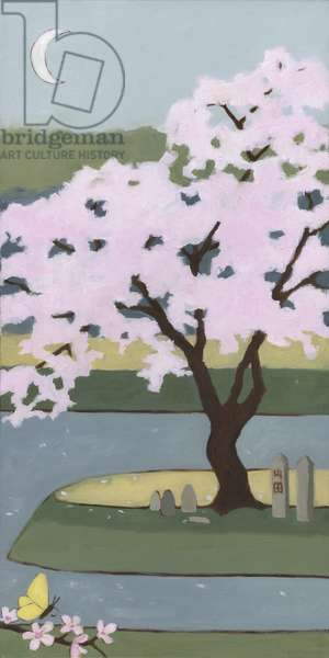 Cherry Tree, Spring, 2013, (oil on wood panel)