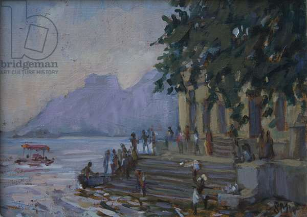 Washing on the steps at Udaipur, 2012, (oil on board)