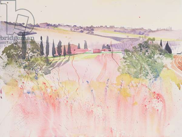 Tuscany south of Montalcino, 2002 (watercolour)