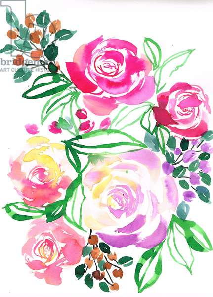 Rose bouquet, 2018, watercolour