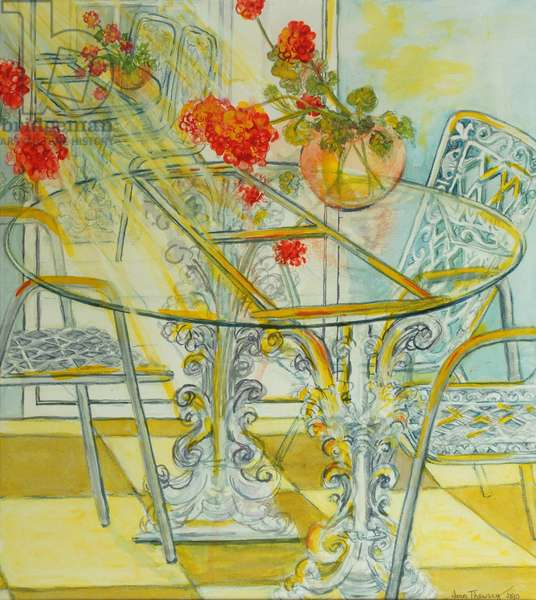 Patio Garden,Geraniums Reflected, 2010, watercolour