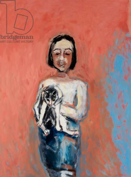 Girl with a Cat, 2000 (oil on canvas)