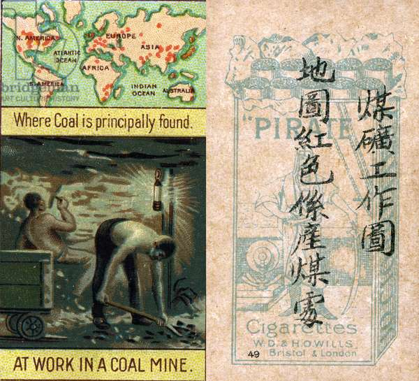 Principal areas for coal mining, from the series of  'Products of the World' cigarette cards produced by Wills 'Pirate' Cigarettes for the Chinese market, 1913 (colour litho)