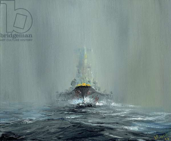 Battleship Yamato 1945, 2016, (oil on canvas board)